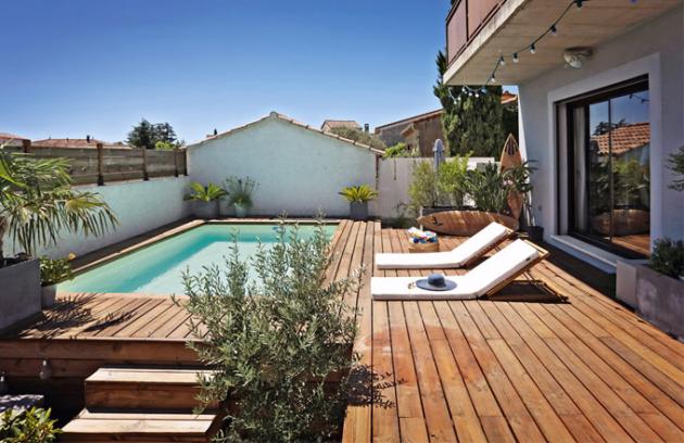 Bazén Desjoyaux, 5 × 3 m, vnitřní schodiště, možnost vybavit protiproudem, slanou úpravou vody a různými typy ohřevu, cena na dotaz, www.desjoyaux.cz