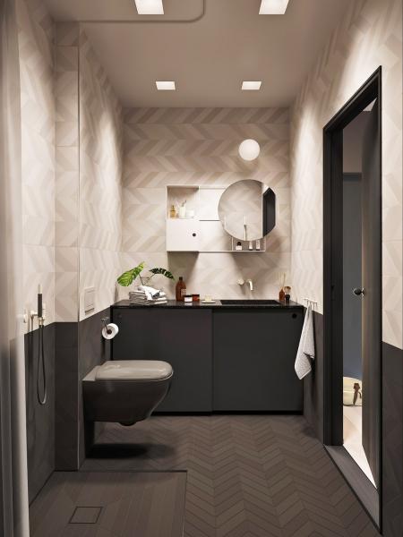 Koupelně dominují obklady odvýrobce Mutina vevzoru rybí kosti, které navrhla londýnská dvojice designérů Barber & Osgerby. Nábytek je zdílny Note Design Studio avznikl pro korejského výrobce Lagom Bath