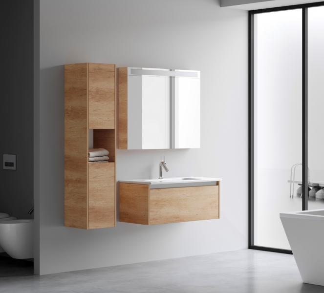 Koupelnovou skříňku můžete mít i v trendy dekorech – světlém dřevu