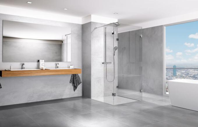 Sprchová stěna Premium New NSSU3 (Teiko), pravé provedení čiré sklo 0,8 cm, ochrana skla Water Off, mosazné pochromované panty, 100 × 100 cm, výška 200 cm, cena 21 890 Kč, www.teiko.cz