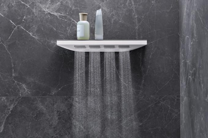 Šíjová sprcha Rainfinity 5001 jet (Hansgrohe), chrom amatná bílá, 50,2 × 8,1cm, horní, zádová nebo boční sprcha, proud PowderRain, sklo akov, cena 21078Kč, www.marokarlin.cz