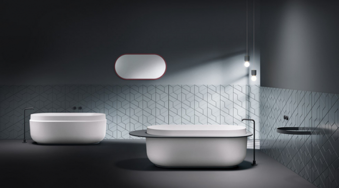 Volně stojící vana Boul (KolpaSan Premium), design Daniele Luciano Ferrazzano, materiál Kerrock, cena 114 950 Kč, www.intea-service.cz
