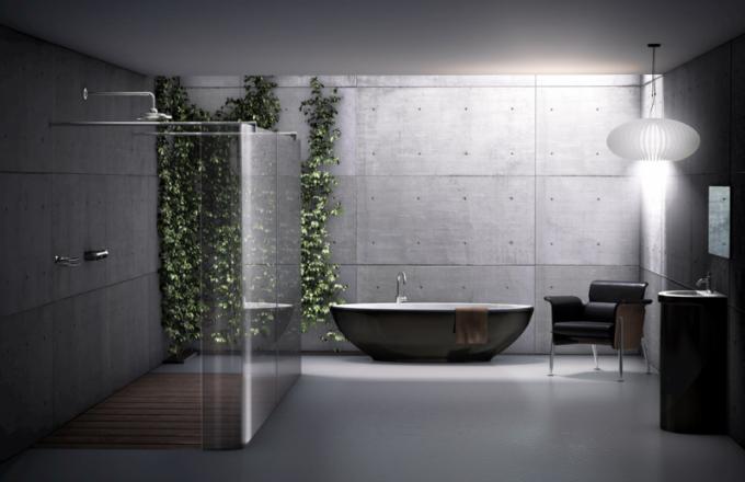 Moderní řešení sprchové zástěny Aprejo Curve (Palme), tvrzené bezpečnostní sklo otloušťce 8mm, standardní výška 200cm, cena od 40 300 Kč, www.besta.cz