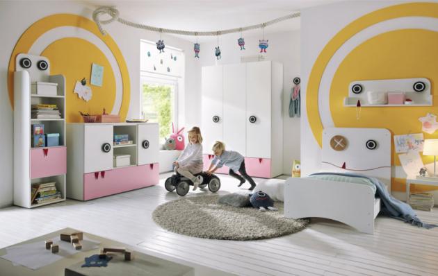 Nábytkový systém Now Minimo zkolekce Now by Hülsta (Hülsta), sněhově bílá sakcentem světle růžové, postel bez matrace, cena 10560Kč, www.homestyle.cz