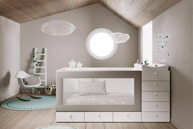 Nábytek Infinity 2 (JJP), lamino desky 19 až 50mm, možnost laku, materiál ilak nejvyšších ekologických nároků EU, 200 × 100 × 90cm, cena od55940Kč, www.space4kids.cz