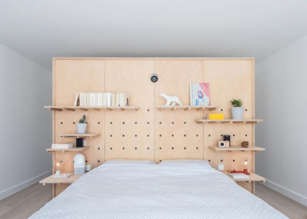 Návrh představoval sloučení dvou identických, překrývajících se bytů do jednoho s tím, že v dolním patře byly umístěny ložnice a horní patro se stalo společenským prostorem a výhledem na Paříž. Obě úrovně propojuje točité schodiště.