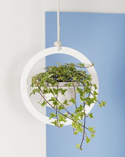 Závěsný držák na květiny Saturno (Formae), design Anno Mercurio, ocel/terakota/lano, více rozměrů a barevných provedení, www.do-shop.com