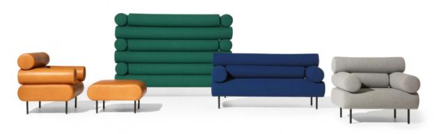 Série sedacího nábytku Cabin Lounge (DesignByThem), design Nicholas Karlovasitis &Sarah Gibson, konstrukce ze dřeva akovu,  čalounění textil nebo kůže, cena křesla od79640Kč, www.designbythem.com