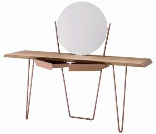 Toaletní stolek Coseno (Bonaldo), design Mauro Lipparini, kovová základna, výběr zněkolika druhů dřeva, 160 × 74 × 45cm, ø 60cm, cena 49640Kč, www.puntodesign.cz