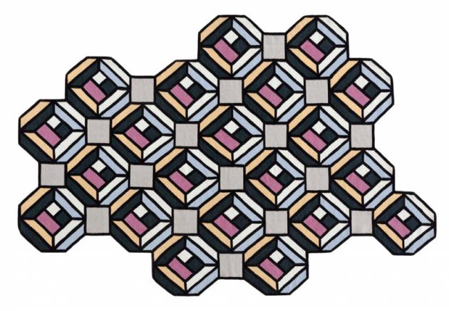 Dekorativní koberec Parquet Tetragon (GAN Rugs), design Studio Front, 100% vlna, výběr ze dvou velikostí, cena od27120Kč, www.onespace.cz