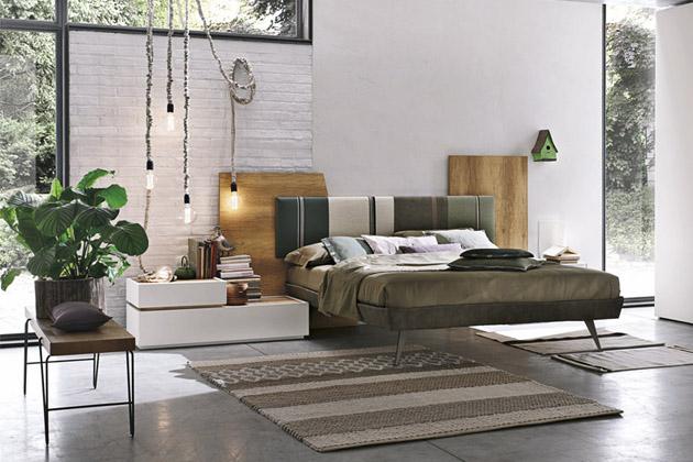 Dvoulůžková postel Diagonal sdekorativním čelem (Tomasella), kov, dřevo, látkové čalounění, 265 × 204  × 135cm, cena odcca 32790Kč, www.shopinterni.it