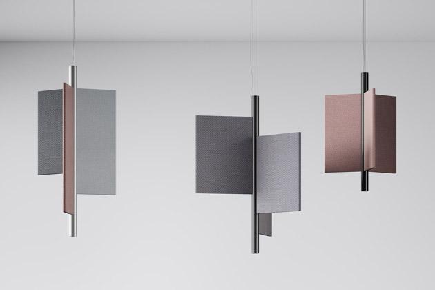 Novinka Trypta (Luceplan) od mladého newyorského designéra Stephena Butrkase splňuje nejvyšší estetické nároky na solitérní osvětlení a současně plní funkci akustických panelů. Kombinace přímého a nepřímého osvětlení, které tento solitér poskytuje, a systém zvukotěsných těles, které snižují hluk, přemění každou místnost v relaxační prostor. Panely jsou čalouněné ozdobnou tkaninou. Cena od 49 626 Kč, WWW.BULB.CZ