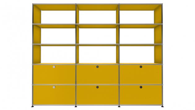 USM Haller (USM Modular Furniture), regál orozměru 40 × 75 × 20cm, cena  9114 Kč/ks, sestava  5 × 3 orozměru 180 ×225cm, cena 76565Kč, www.usm.com