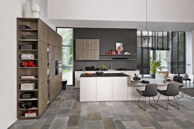 Kuchyňský koncept Tavola/Soft Lack (Nolte Küchen), povrchová úprava dub Barolo alak, cena dle kompozice,  www.nolte-kuechen.de