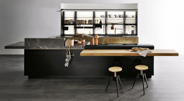 Kuchyňská sestava Artematica (Valcucine), design Gabriele Centazzo, hliníková konstrukce, sklo akov, dvířka zmasivu, cena nadotaz, www.valcucine.com