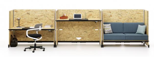 Variabilní stůl Hack (Vitra) je opatřen kolečky amá polohovatelnou horní desku, design Konstantin Grcic, cena na dotaz, www.designville.cz