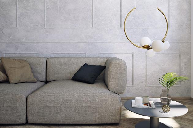 Hravý závěs aobruč osazená kuličkami vpodobě dekorativních lustrů Zed aOhm. Třívrstvé opálové sklo, kabelový závěs, ocelová konstrukce. Více barevných provedení. Cena od13599Kč