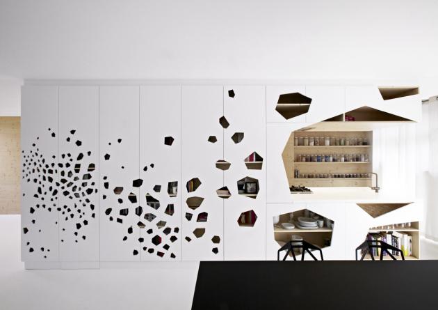 Děravá stěna je ifunkční částí kuchyně