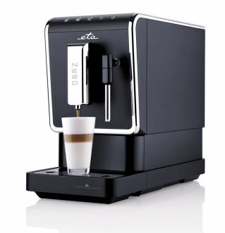 Automatický kávovar Nero 518090000 (ETA), slim design úprava, pro zrnkovou kávu, příkon 1470 W, parní tryska pro přípravu mikropěny, cena 8999Kč, WWW.ETA.CZ