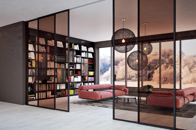 Posuvné dveře Sting Door vsystému Premium (JAP FUTURE), systém příčky vinteriéru, sklo, cena od12353Kč, www.japcz.cz