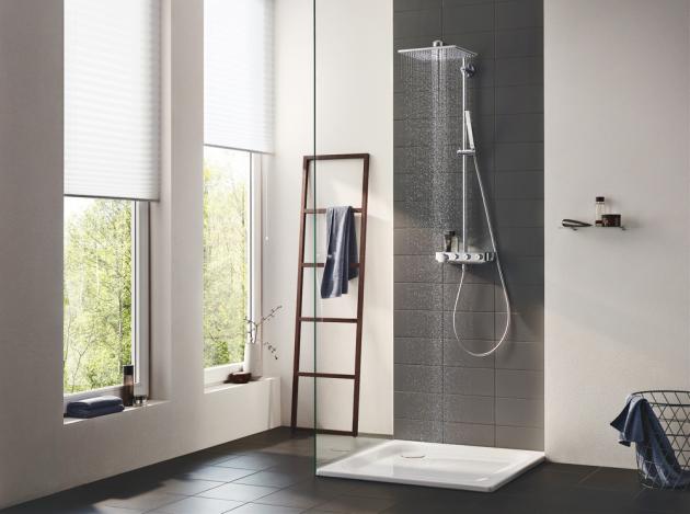 Sprchový systém Euphoria SmartControl 310 (Grohe), 2 sprchové režimy, technologie TurboStat, která poskytne okamžitě požadovanou teplotu vody, cena 36 917 Kč, www.grohe.cz
