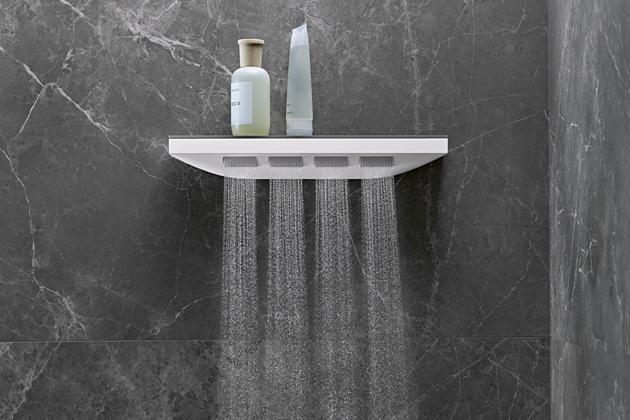 Šíjová sprcha Rainfinity (Hansgrohe) s poličkou  50,2 × 8,1 cm, možnost využití jako zádová nebo boční, cena 17 420 Kč, www.hansgrohe.cz