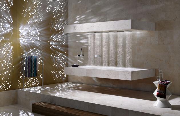 Horizontální sprcha Horizontal shower (Dornbracht) stechnologií Ambiance Tuning Technique, sprchování vleže, cena nadotaz, WWW.DORNBRACHT.CZ