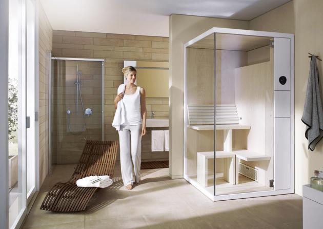 Sauna Inipi B Super Compact (Duravit), rohová verze, 1175 × 1170 × 2130mm, bílý vysoký lesk, cena 201300Kč, WWW.KOUPELNY-PTACEK.CZ