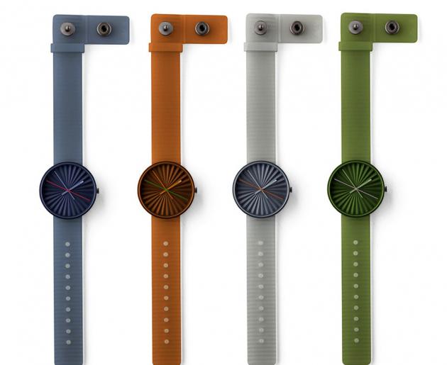 Náramkové hodinky Plicate (Nava), ciferník strojrozměrným povrchem bez čísel, Ø 40mm, cena 3400Kč, www.designbuy.cz