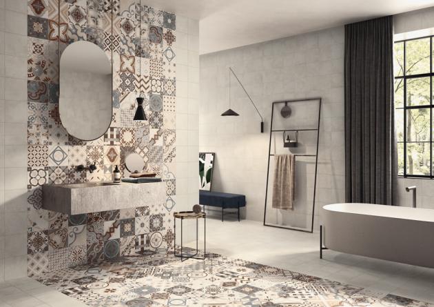 Obklady Opus Beige aOpus Multicolor Beige (Casalgrande Padana), porcelánová kamenina, rozměry 20 × 20cm,  orientační cena 400Kč/m2,  www.casalgrandepadana.com