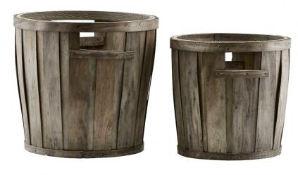 Dekorativní vědra Buckets (Meraki), borovicové dřevo, výběr ze dvou velikostí, cena zaset 2ks 486Kč, www.stockist.cz