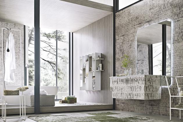 Skříňka Letttere zkolekce La Fenice (Arcom), obklad dvířek speciálním materiálem, který lze použít také naobklad stěn, povrchová úprava přizpůsobena vlhkým podmínkám,   85 x 95 x 105cm, cena nadotaz, www.arcombagno.com