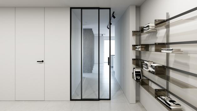 Hliníková příčka Digero s posuvnými dveřmi v kombinaci s dveřmi Fortius...