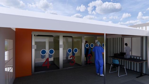 Walk-in testovací kabina funguje na základě modulárního systému. Díky tomu můře být postavena na jakémkoli rovném venkovním povrchu. Místo je konstrukčně uzpůsobené tak, aby se lidé mohli střídat. Zatímco jedna kabina je obsazena, sousední kabina může podstoupit 10minutový dezinfekční proces během přípravy na dalšího pacienta.