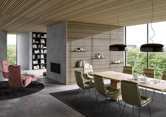 Stůl Asco Mono Rustical (KFF), přírodní dub, 220 x 100 cm, cena od 104 546 Kč, židle Arva (KFF), textilie, cena od 17 186 Kč, WWW.POGGENPOHL.CZ, WWW.SEDLAKINTERIER.CZ