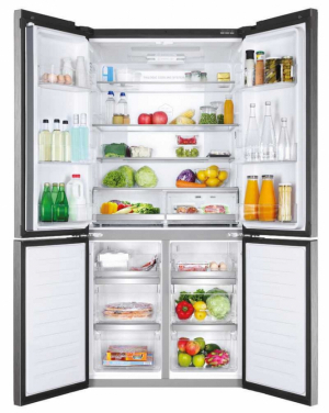 Haier HTF-610DSN7 – čtyřdveřová chladnička s celkovým čistým objemem 610l(chladící část 430 l, mrazící část 180 l), vchladící části 4 skleněné police, 6přihrádek ve dveřích, Humidity Zone a Dry Zone, držák na vajíčka, vmrazáku otočný výrobník ledu a 3 + 3 zásuvky (včetně MyZone), energetická třída A++, hlučnost 40dB(A), barva Iconic Black (tmavý nerez), rozměry 190 x 90,8 x 73,8 cm (v x š x h), doporučená cena 39990 Kč, zdarma 12 let záruka na kompresor.
