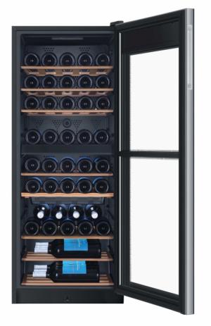 Haier WS53GDA – dvouzónová vinotéka s kapacitou 53 lahví vína, 8 dřevěných polic, LED displej s nastavením teploty pro obě zóny 5 – 20 °C, zámek dveří, celkový čistý objem 172 l, energetická třída A, hlučnost 40dB(A), rozměry 127 x 50 x 54 cm (v x š x h), doporučená cena 19 990 Kč, zdarma 12 let záruka na kompresor.