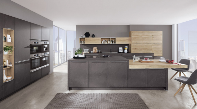 Kuchyňský koncept Stone (Nobilia), laklaminát, odstín antracit a dřevodekor, WWW.SIKO.CZ
