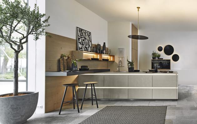 Kuchyňský koncept NK25809 (Nolte Küchen), laklaminát, odstíny Zement Saphirgrau / / Eiche Pinot, WWW.NOLTE-KUECHEN. DE