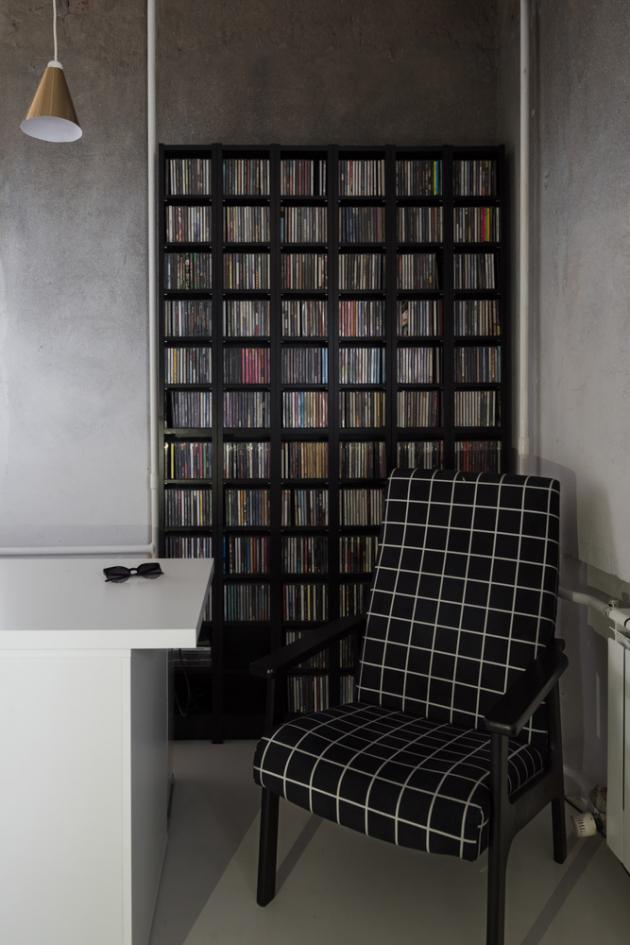 Společným prvkem a vzorem, který se prolíná interiérem, je mřížka.
