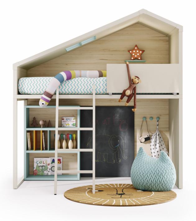 Patrová postel Cottage se žebříkem, knihovnou a tabulí (Lagrama), sklopná horní zábrana, provedení lamino o tloušťce 5 cm, odnímatelný kovový žebřík, barvy a úchytky lze vybírat a kombinovat dle vzorníku, cena 114 704 Kč, WWW.SPACE4KIDS.CZ