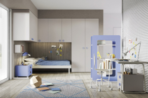 Nábytek do dětského pokoje z kolekce Ponti 22, vybavení zčásti tvoří vestavěné skříně, kombinace matného laku a dýhy, nábytek lze přizpůsobit věku dítěte, cena dle kompozice na dotaz, WWW.CASAMODERNA.CZ
