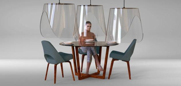 Francouzský designér Christophe Gernigon přišel s nápadem, jak stylově vyřešit společenský odstup v restauraci.