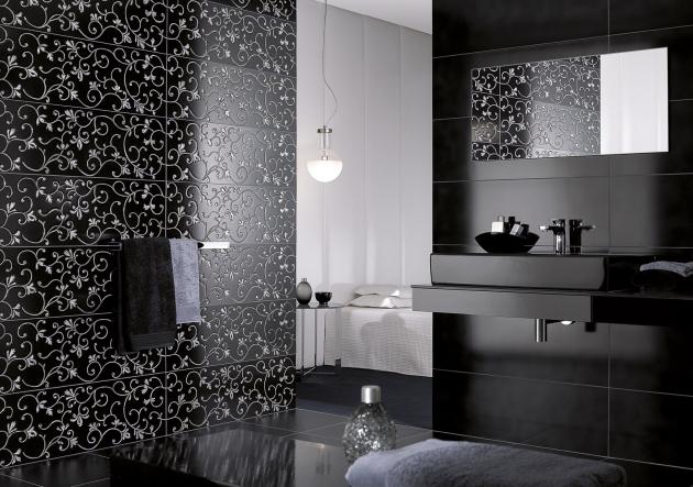 Koupelna s výraznými obkládačkami Aimee (Villeroy Boch) a s černou sanitární keramikou ze série Memento, cena klozetu 18 057 Kč, cena umyvadla 80 × 47 cm 12 294 Kč, WWW.SIKO.CZ
