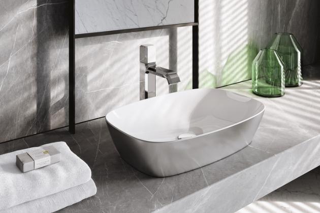 Umyvadlo na desku Green Lux (Catalano), gold white, 40 × 40 cm, bez přepadu, cena 30 238 Kč, WWW.DESIGNBATH.CZ