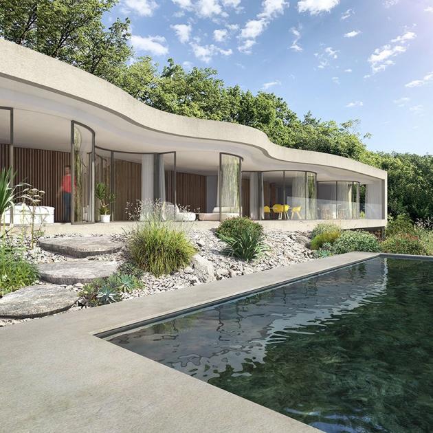 Na úpatí Alp v oblasti Charance stojí dům W, který vznikl podle návrhu architekta Christopha Benichoua a Virgile Ponsoya.
