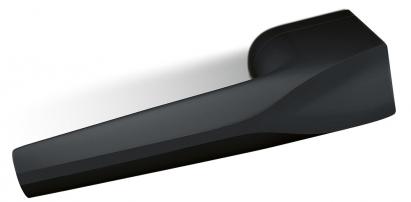 Dveřní kování Ultima (Cobra) z kolekce designéra Petra Novagua, oceněné Red Dot Award 2019, nerez s černým matným povrchem, kovová základna, délka kliky 16 cm, cena 3 851 Kč, WWW.MATEKLIKU.CZ