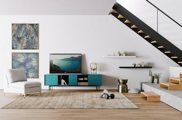 Komoda Ostuni (Miotto), odstín mořská zelená, matná MDF ačiré sklo, 210 × 60 ×40cm, cena na dotaz, www.rimexol.cz