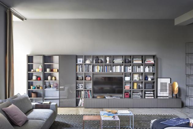 TV stěna Wall 30 (Novamobili), lakovaná MDF adřevo, možnost individuální konfigurace barev, materiálů isestav, cena nadotaz,  www.casamoderna.cz