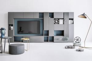TV stěna Selecta System (Lema), design Officinadesign Lema, výběr provedení, cena dle kompozice nadotaz,  www.stockist.cz